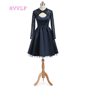 Navy Blue 2019 Homecoming Dresses A-line Long Sleeves Open Back Satin Lace Beaded Sexy Cocktail Dresses