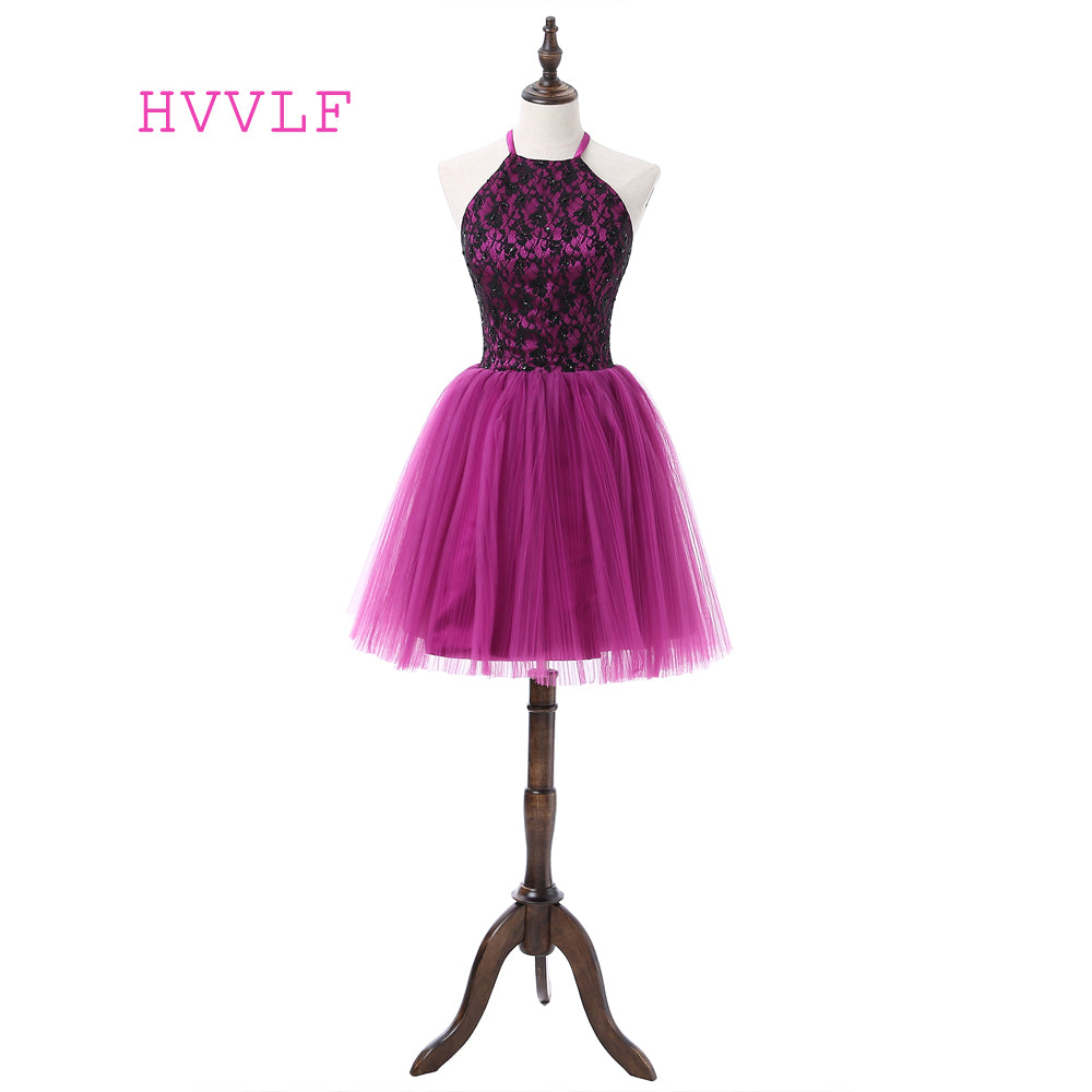 Purple 2019 Homecoming Dresses A-line Halter Short Mini Tulle Lace Beaded  Elegant Cocktail Dresses