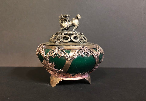 Beautiful inlaid jade in imitation silver incense holder. From the One Hit Die web series.