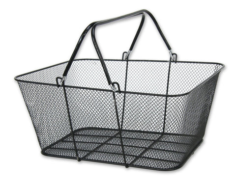 Black metal wire mesh basket with handles