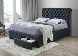 Crystal 2 Drawers Fabric Bed Frame