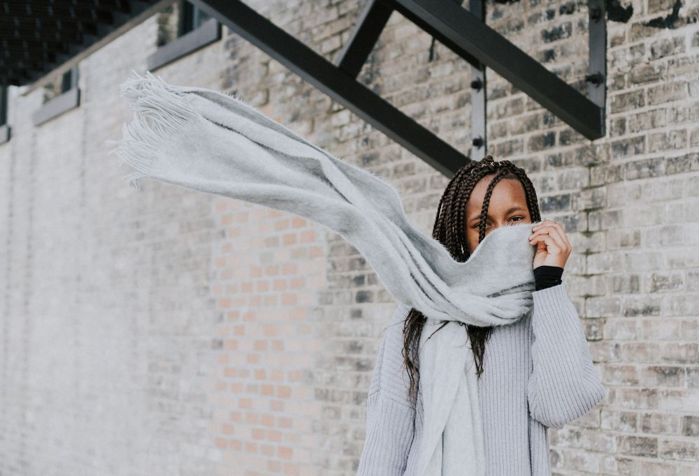 ethical grey outfit scarf