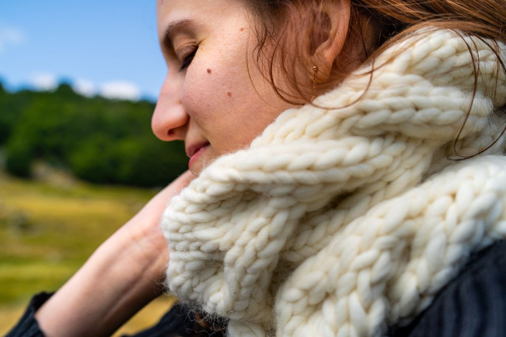 woman wearing wool scarf