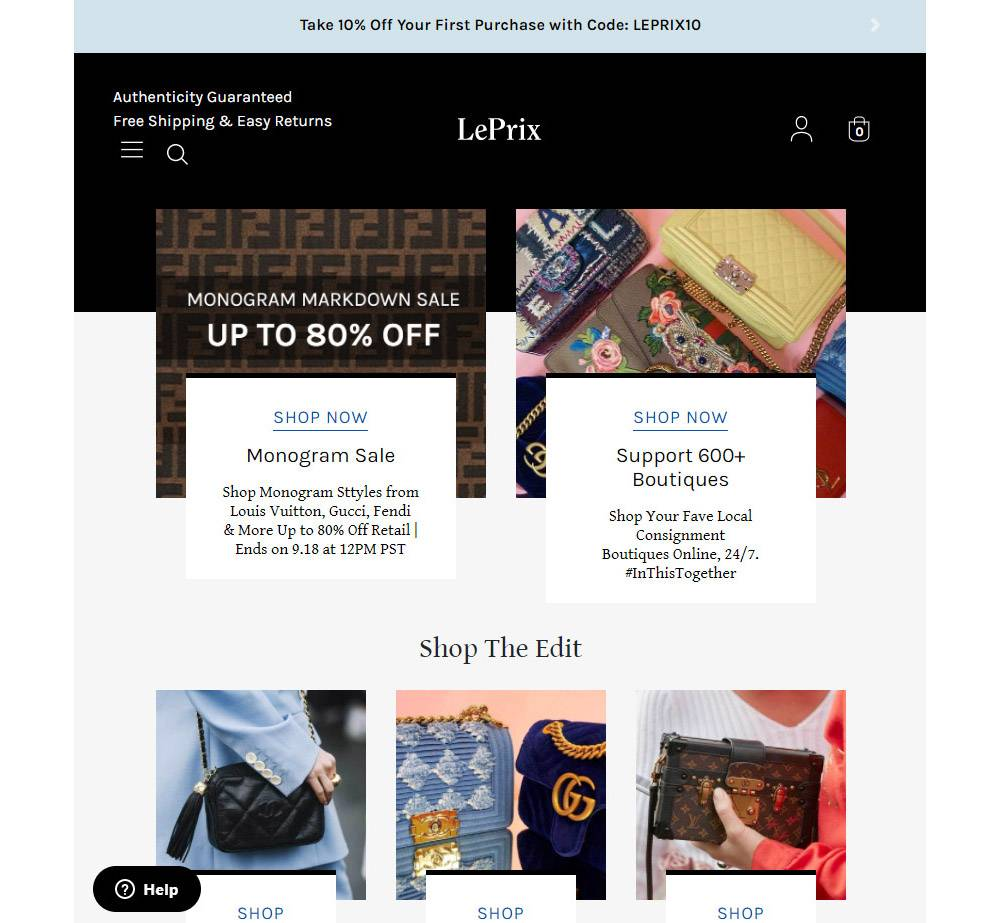 luxuxry clothing resale site leprix
