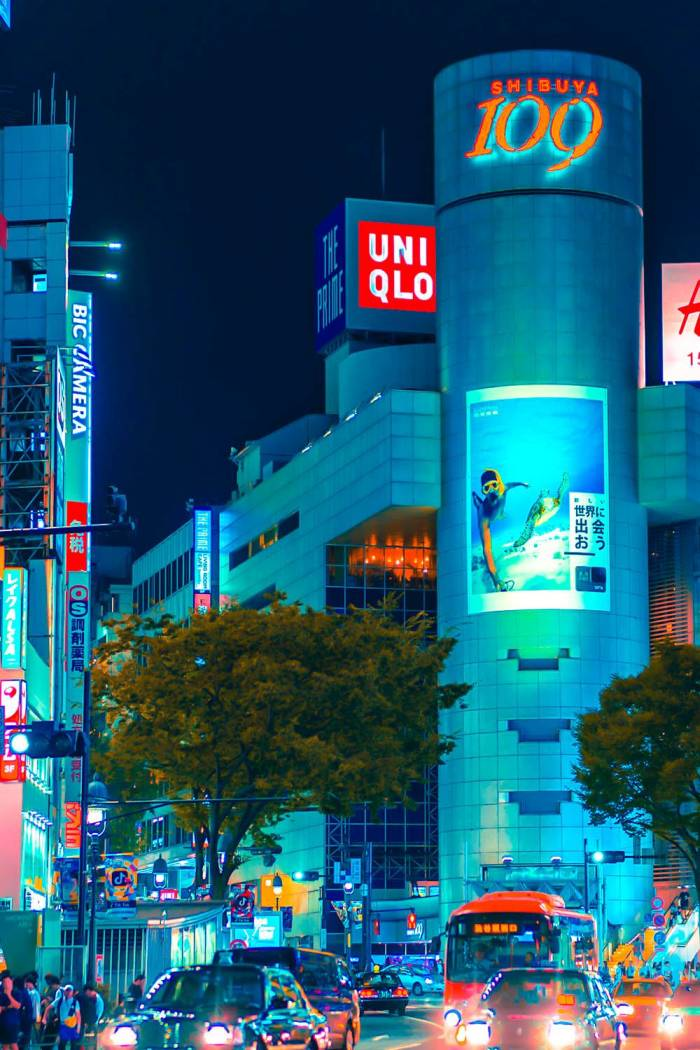 uniqlo shop city at night