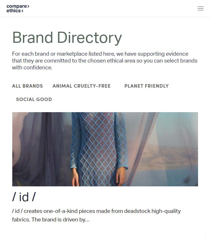 compare ethics fashion brands