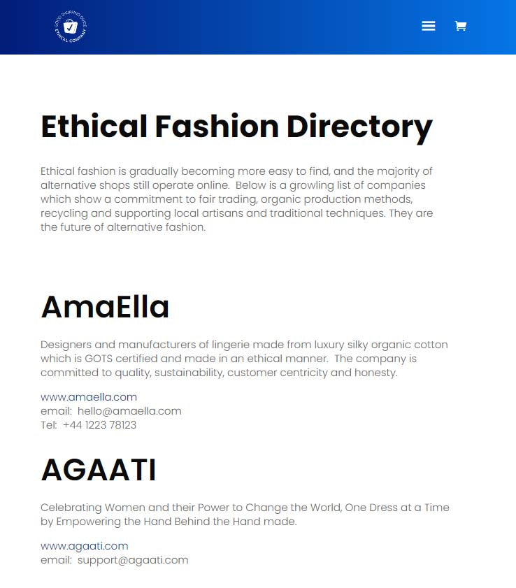 good shopping guide ethical fashion directory