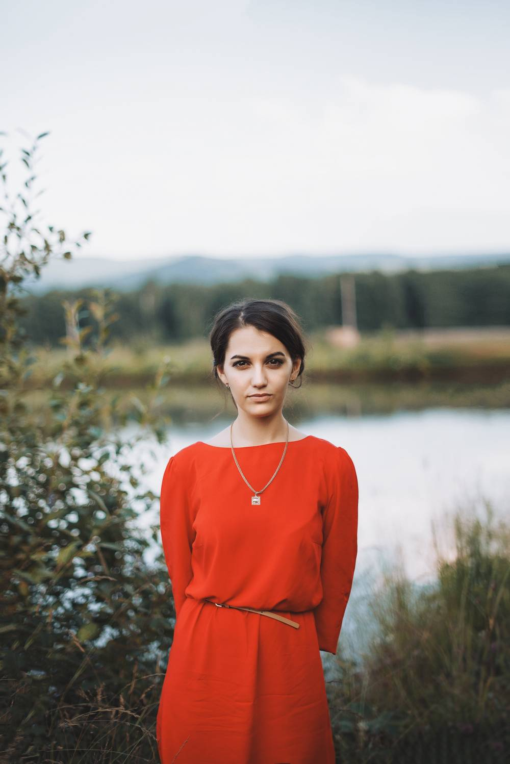 red dress nature pin
