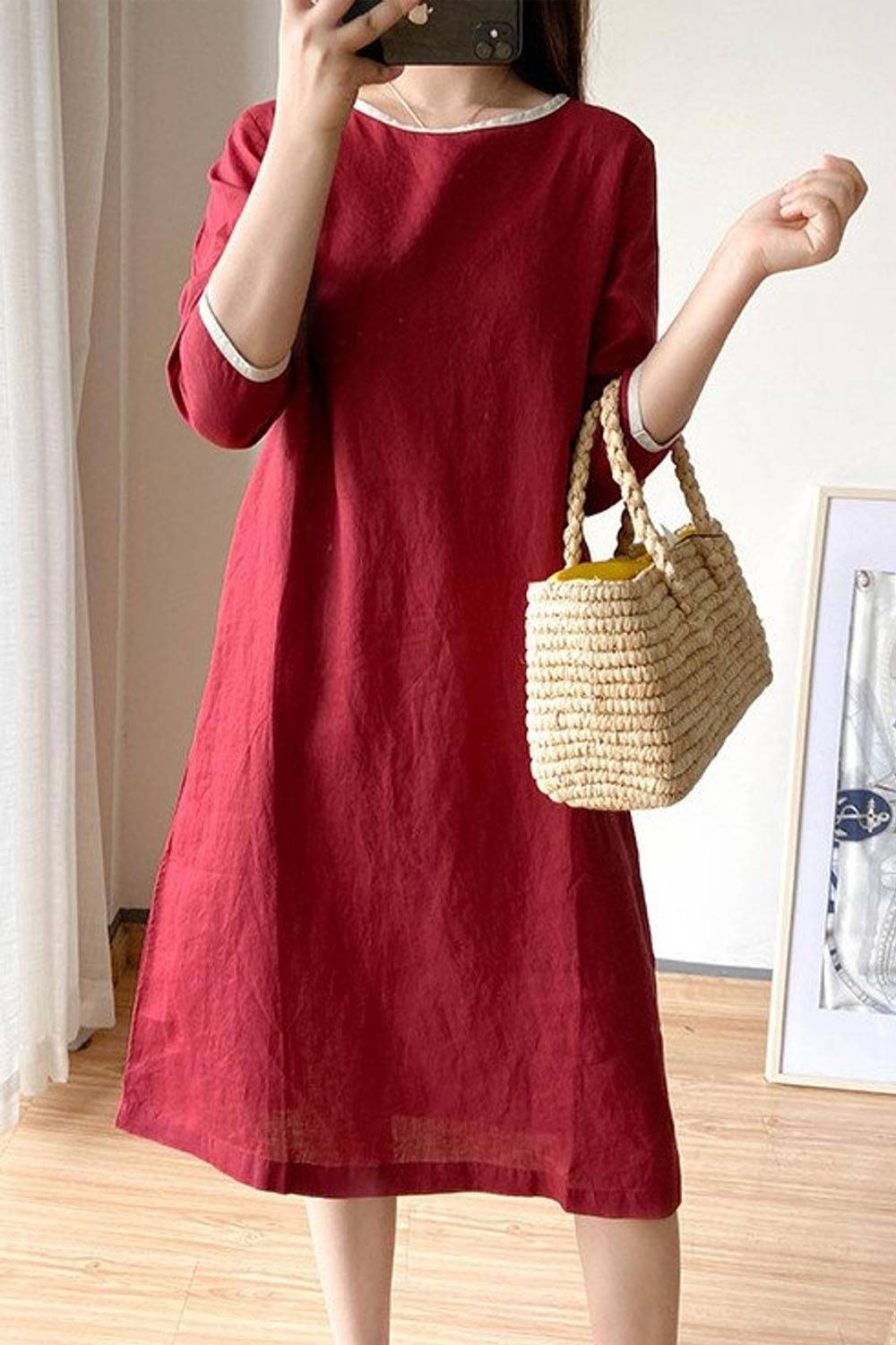 etsy casual pure linen dress