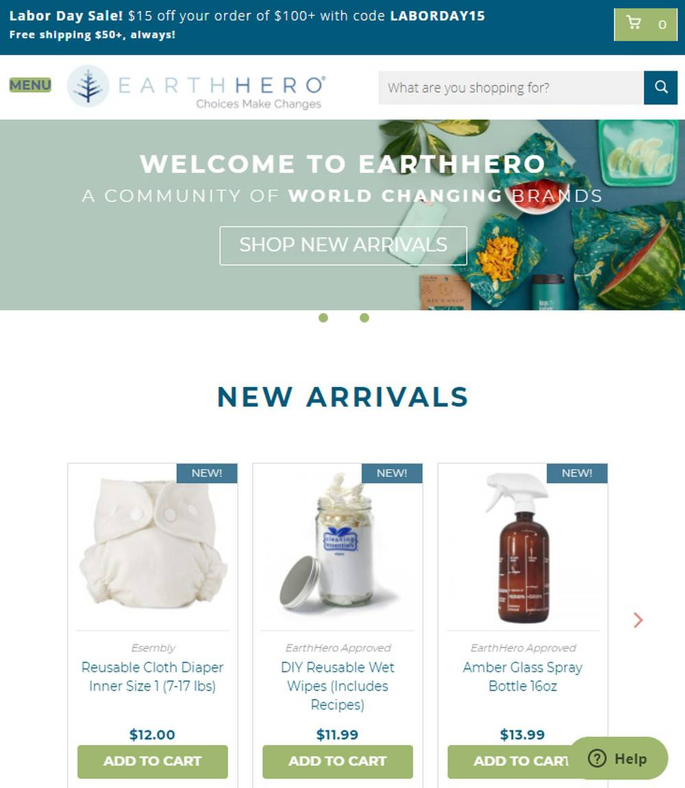 sustainable shopping online earth hero