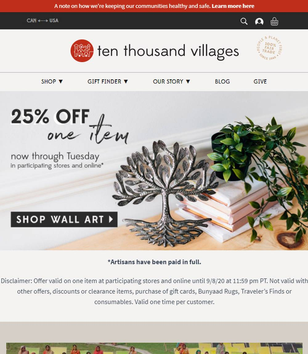ten thousand villages ethical shopping
