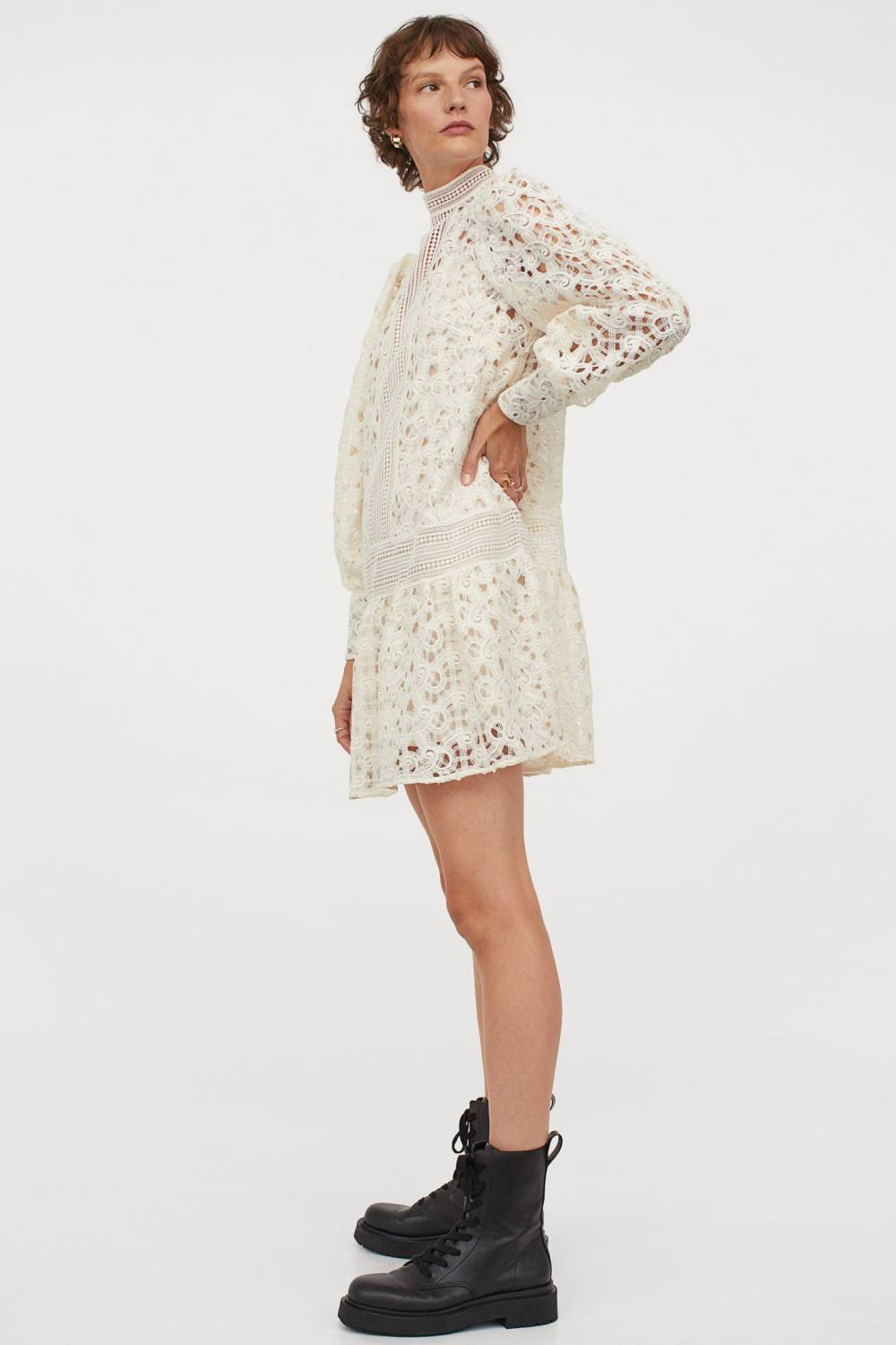 h&m recycled polyester lace dress