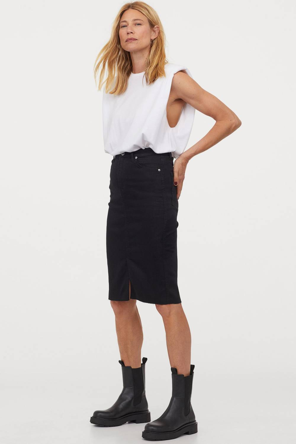 h&m recycled cotton pencil skirt