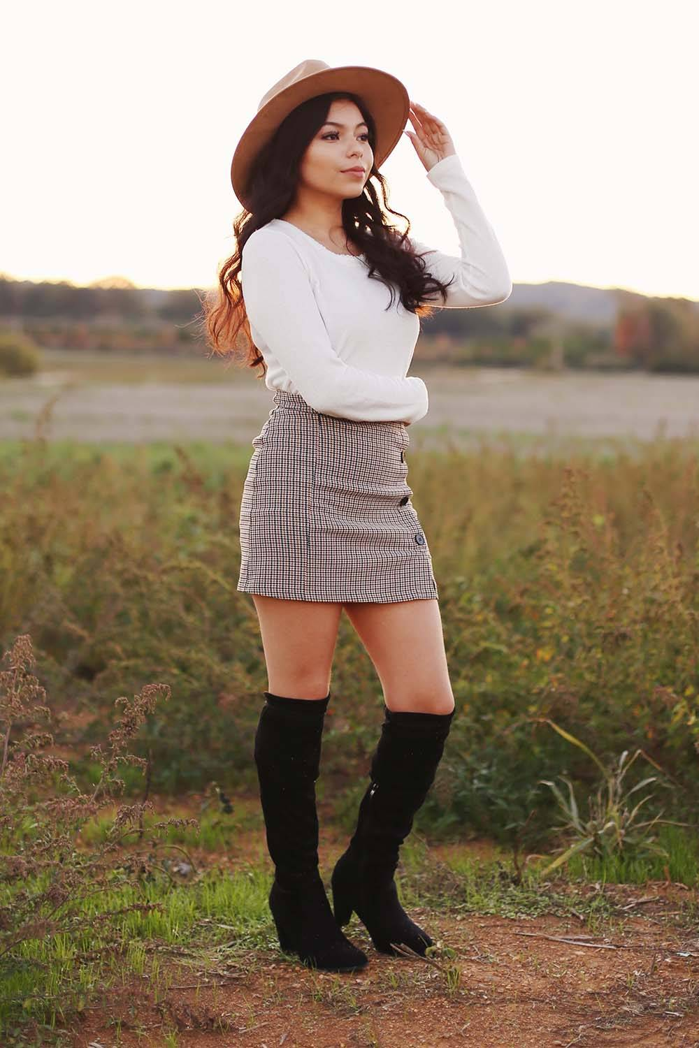 winter skirt tall boots outfit