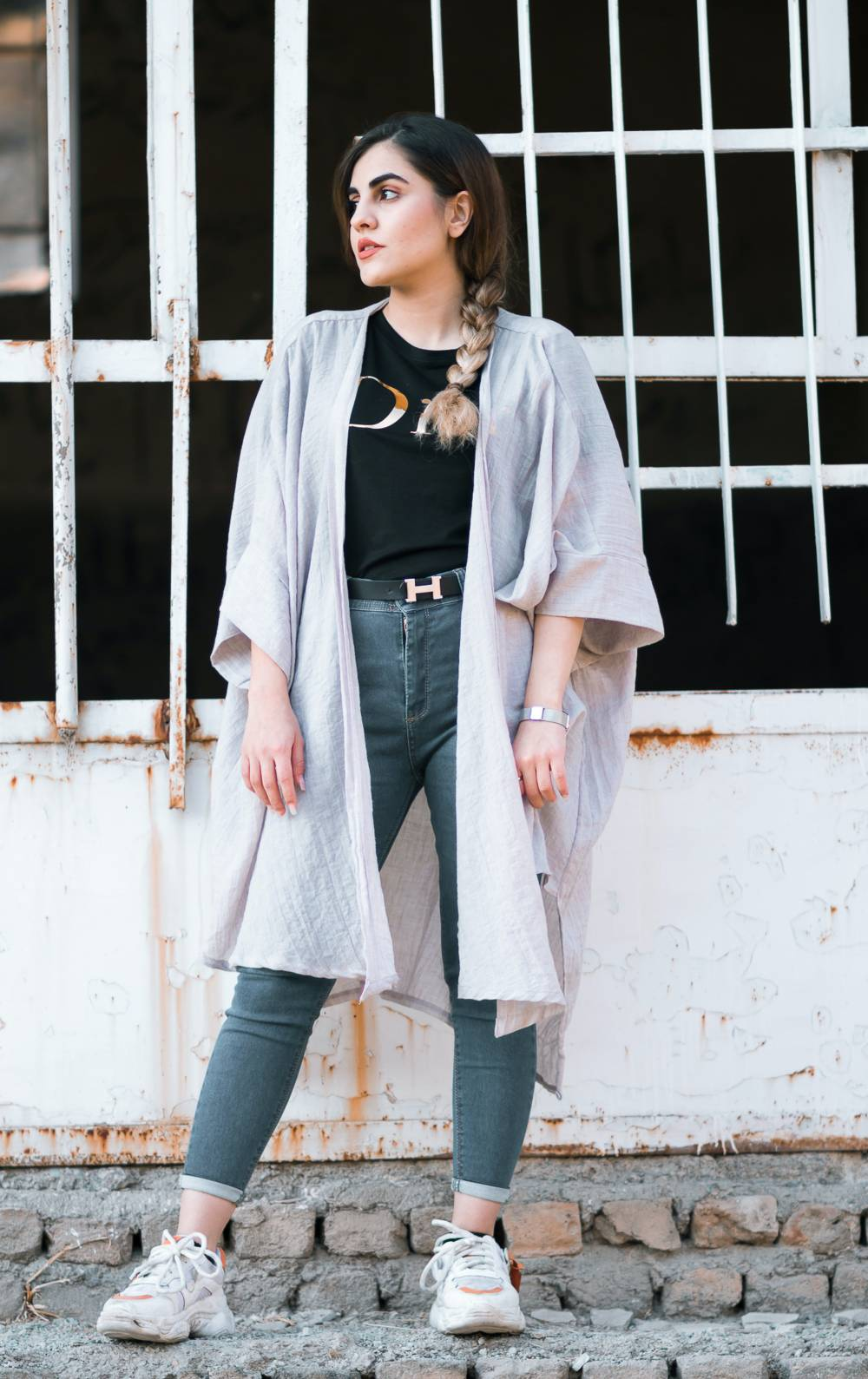 linen women coat pin