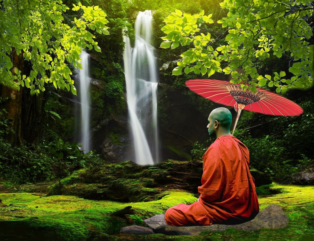 meditation weight loss monk waterfall