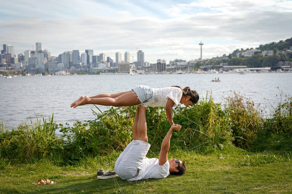 acro yoga couple practice gym