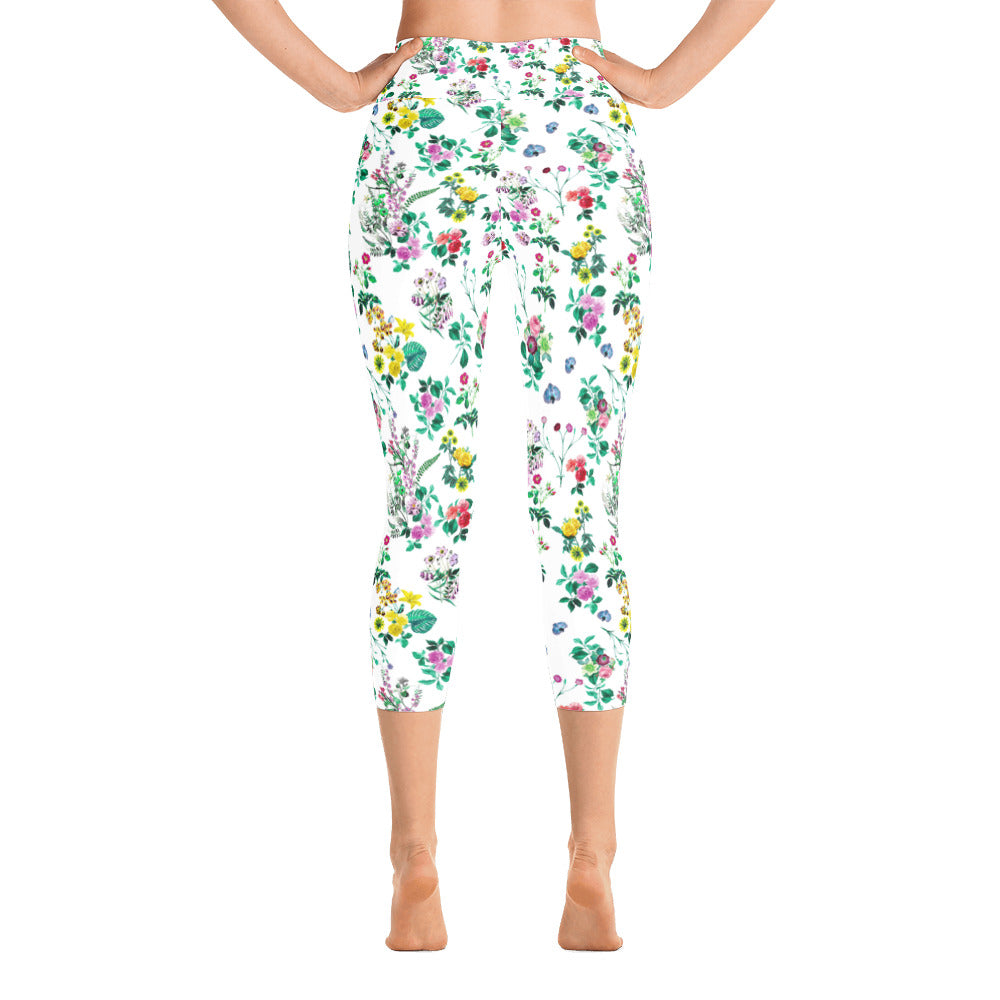 Floral Leaves Capri Leggings