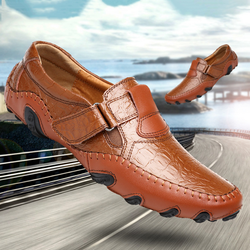 Luxury Men Brand Design Genuine Leather Casual  Walking Shoes