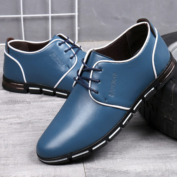 Men Breathable Leather Lace-up Business Casual Shoes