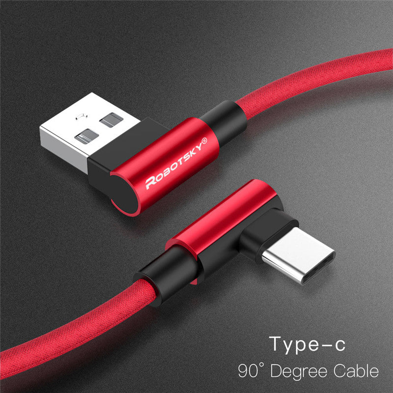 2.4A 90 Degree USB Type-C 3.1 Data Cable for Android