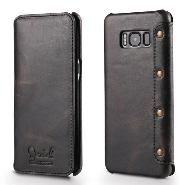 Phone Case - Luxury Real Genuine Flip Wallet Case For Samsung S8/S8+