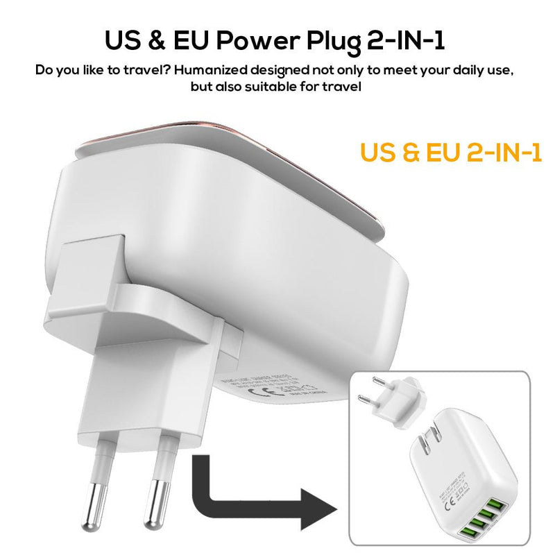 L-Power 4-Port 4.4A(Max) 22W EU USB Charger Adapter LED Lamp Auto-ID Portable Phone Travel Wall Charge