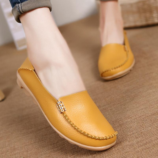 Woman Plus Size Flat Shoes Genuine Leather Causal Oxford Shoes