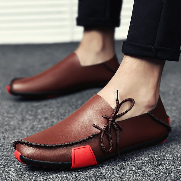 Men Comfortable Leather Handmade Moccasins Casual Shoes