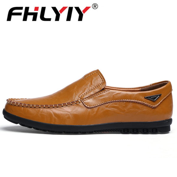 Genuine Leather Men's Casual Luxury Brand  Breathable Slip on Shoes