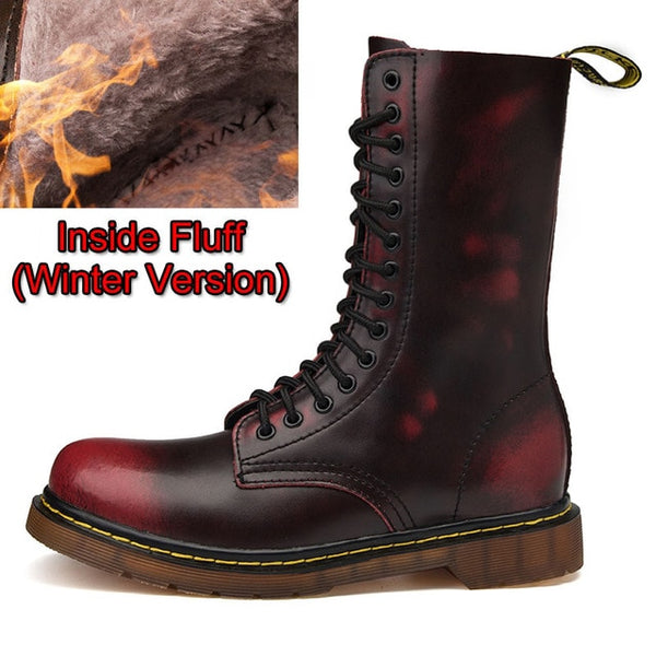 Motocycle Boots Men Winter High-Top Military Combat Leather Boots