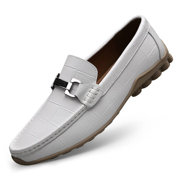 Men Leather Flats Casual Shoes Men Slip-on Loafers