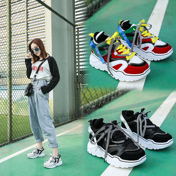 Women Chunky Designer Casual Lace Up Tenis Sneakers