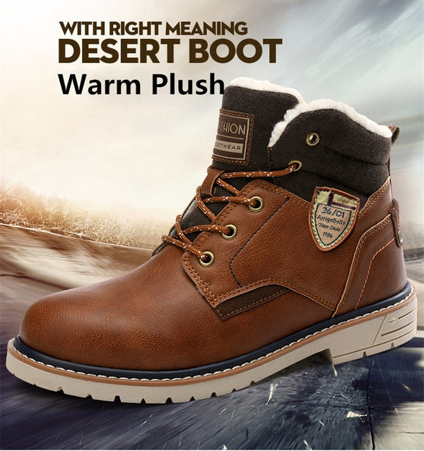 New Winter Warm Fur Men's Leather Waterproof  Ankle Boots
