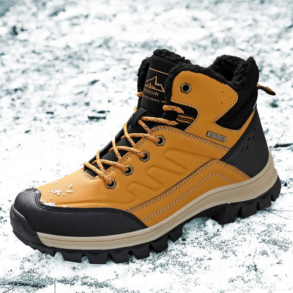 Winter Snow Boots Men Casual Cow Split Leather Flat Ankle Boots