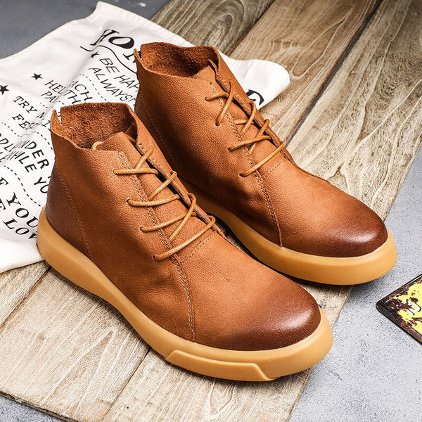 Men Autumn Winter Leather Rubber Ankle Shoes