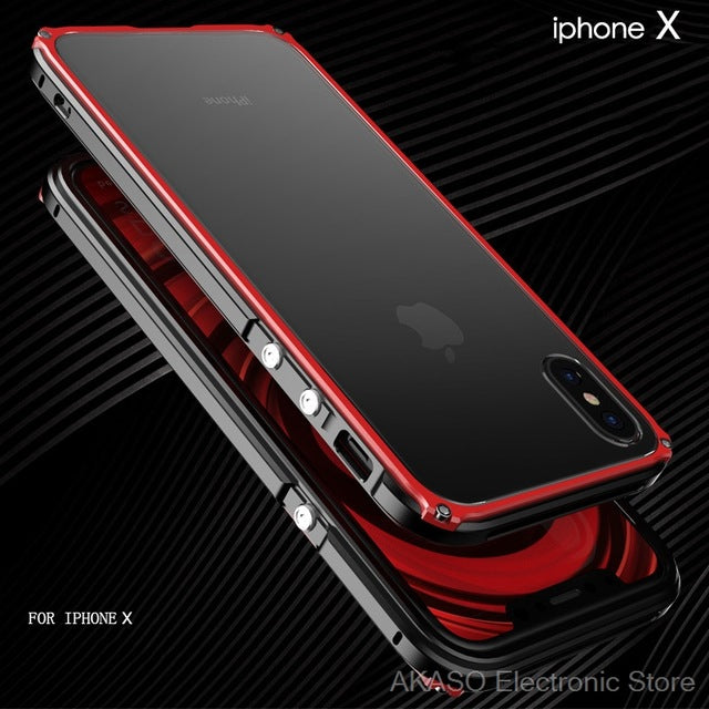 Luxury Shockproof Dustproof Armor Metal Frame With Transparent Back Cover for iPhone