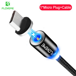 360 Degree Rotate Round LED Fast Charging Magnetic Cable With Plug For Smart Phone