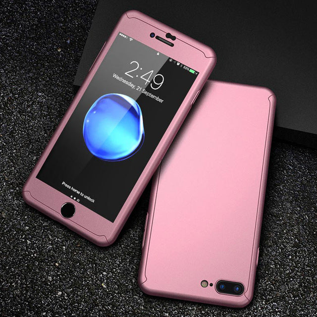 360 Full Coverage Tempered Glass Plastic Back Cover Case For iPhone