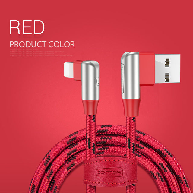 Fast Charging 90 Degree Lighting 8 Pin Usb Cable For iPhone