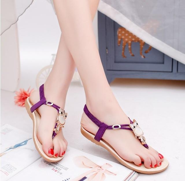 2018 Summer Sandals Beach Shoes Women Owl Crystal Flats Flip Flops Shoes