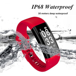 IP68 Waterproof Fitness Tracker Heart Rate Blood Pressure Monitor Sport Smart Wristband