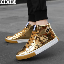 Fashion Hip Hop Men Gold Lace-up Vulcanized Ankle Boots