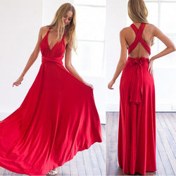 Women Multiway Wrap Convertible Boho Maxi Club Red Party Long Dress