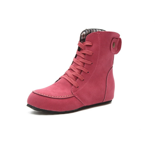 Fashion New Women Vintage Casual Ankle Boots Flat Heel Motorcycle Boots