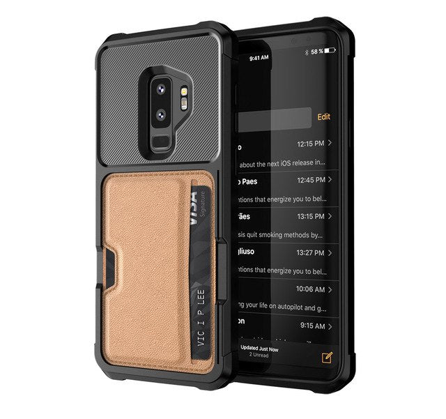 Magnetic Absorption Armor Protection Slide Card Slot Phone case For Samsung S9 S9 Plus