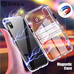 Luxury Magnetic Metal Glass Case For iPhone X