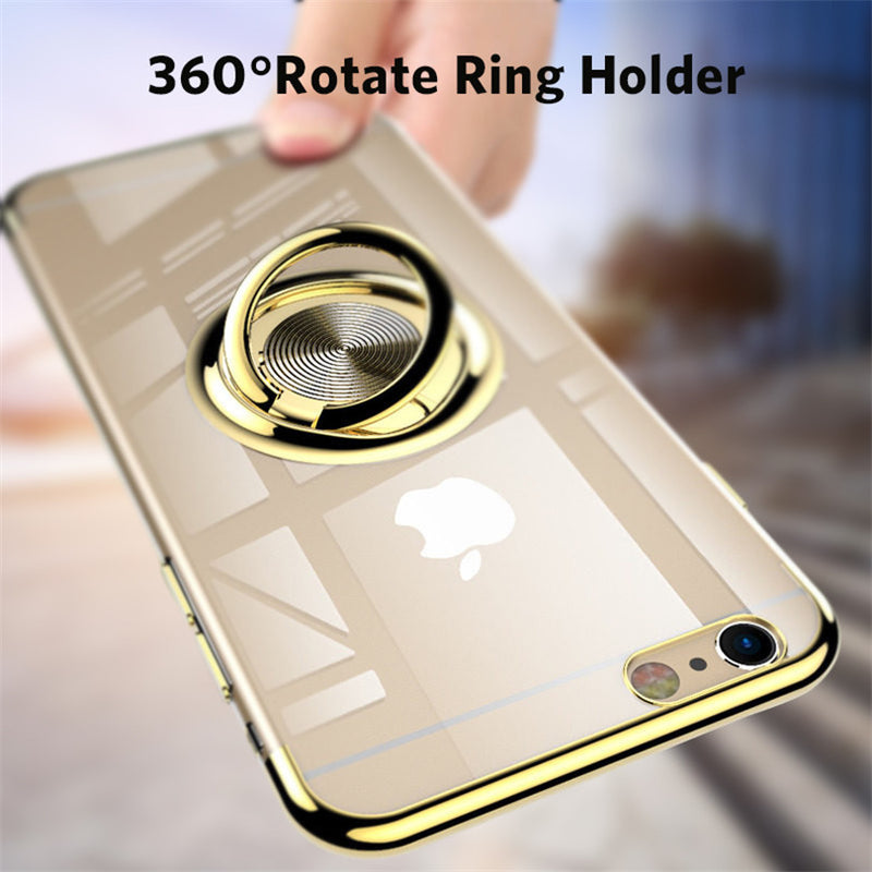 Clear Silicone& Magnet Adsorption Ring Stand Holder Phone Case For iPhone 7 8  Plus X