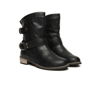 Women superstar fashion classic pu leather buckle boots