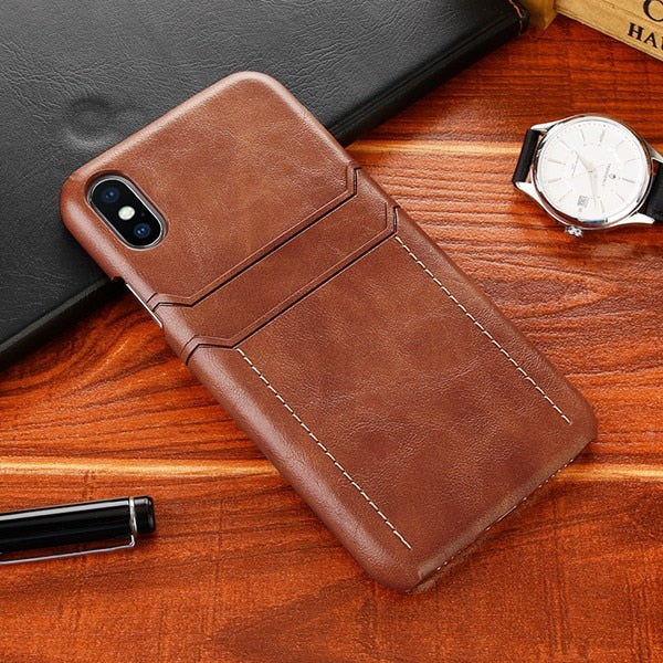 Luxury Leather Card Holder Wallet Phone Back Cover for iPhone